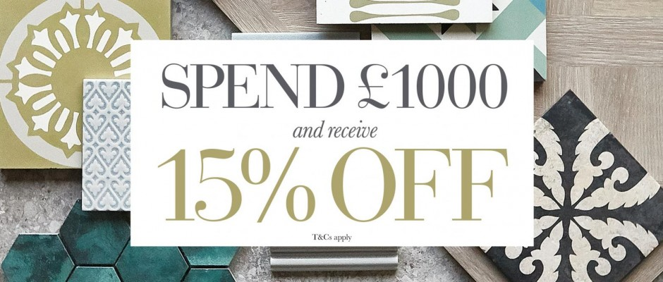 Spend £1000 and receive 15% off – October 2019